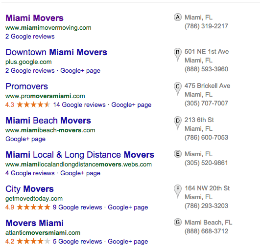 google maps old listings results