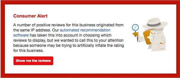 Yelp Consumer Alerts for Fraudulent Business Reviews